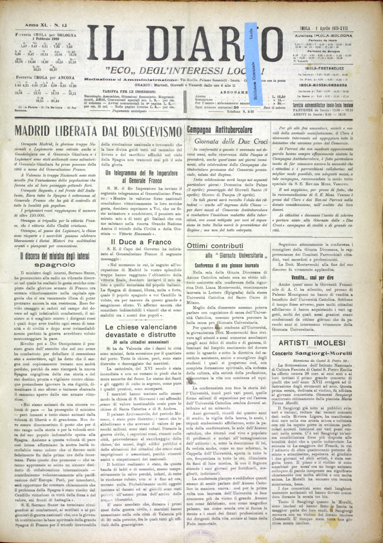 1. Il Diario 1 aprile 1939 n. 13 (Bim)