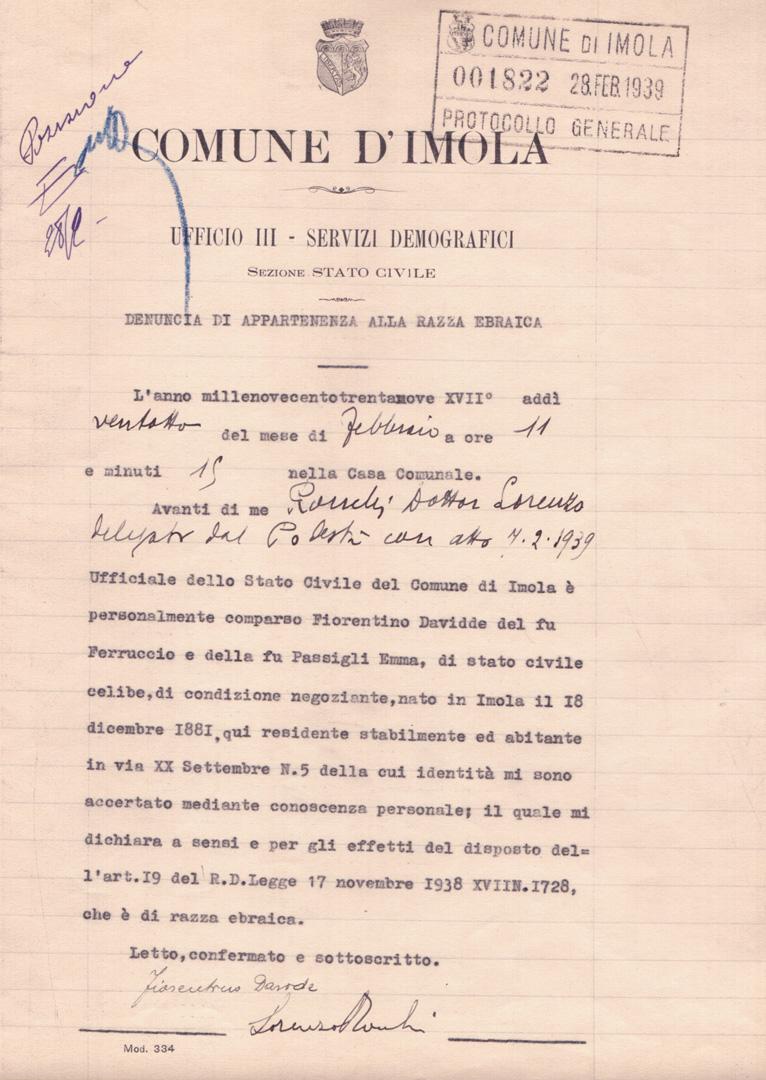 5. La dichiarazione di razza di Fiorentino Davide ebreo imolese (Archivio Cidra, Fondo Ezio Serantoni)