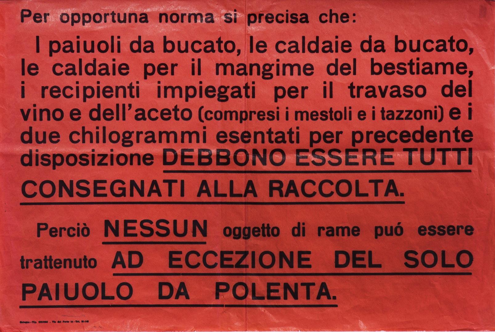 5. Manifesto per la consegna di oggetti metallici (Archivio Cidra)