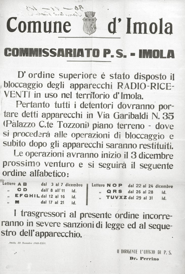 6. Imola, 27 novembre 1943, manifesto con l'ordine di bloccaggio apparecchi radio (Bim)