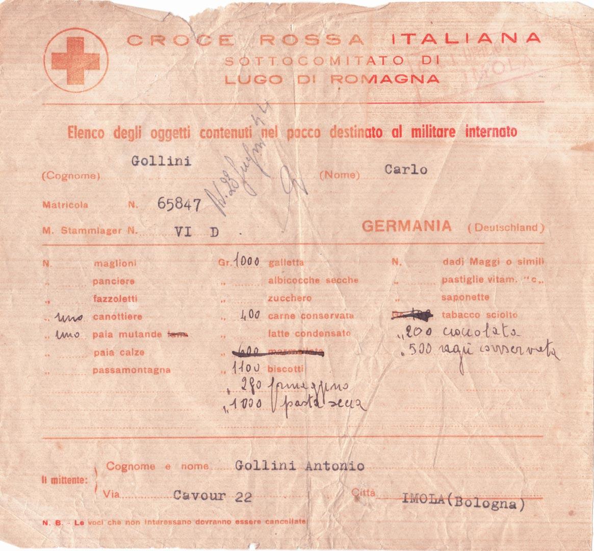 3. Modulo della Croce Rossa Italiana con l'elenco degli oggetti spediti dai famigliari agli internati (Archivio Cidra, Fondo Carlo Gollini)