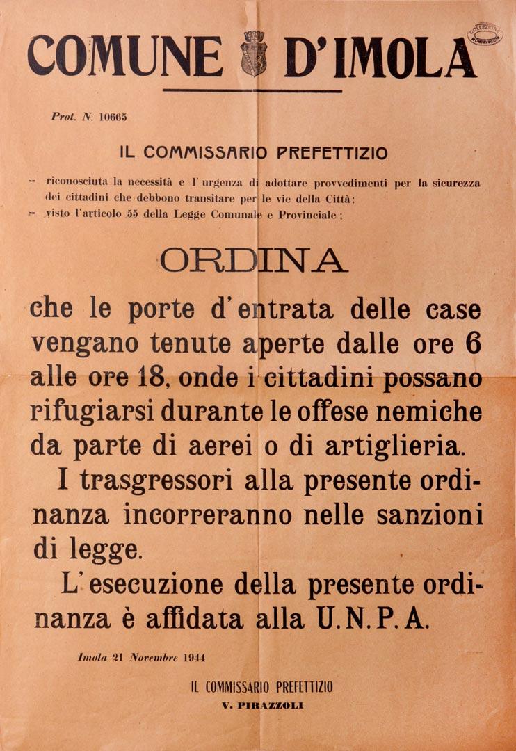 4. Imola, 21 novembre 1944, Manifesto che ordina ai cittadini di tenere le porte aperte in caso di bombardamento (Archivio Cidra, Fondo Montevecchi)