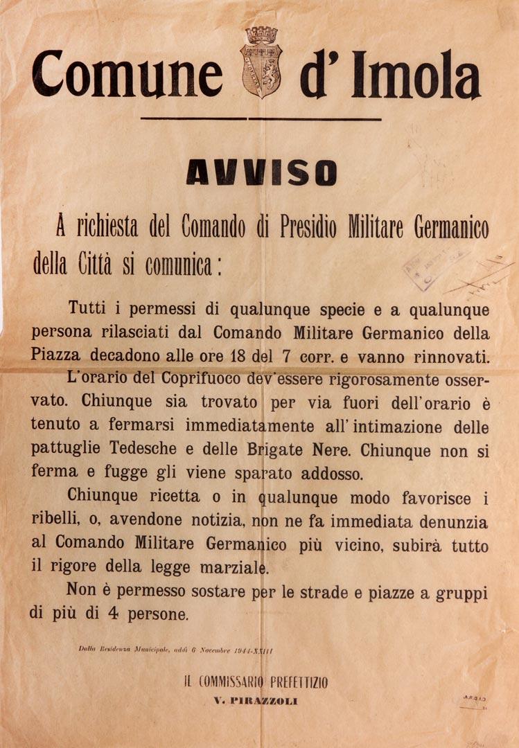 7. Imola, 6 novembre 1944, manifesto relativo al rilascio dei permessi durante il coprifuoco (Cidra)