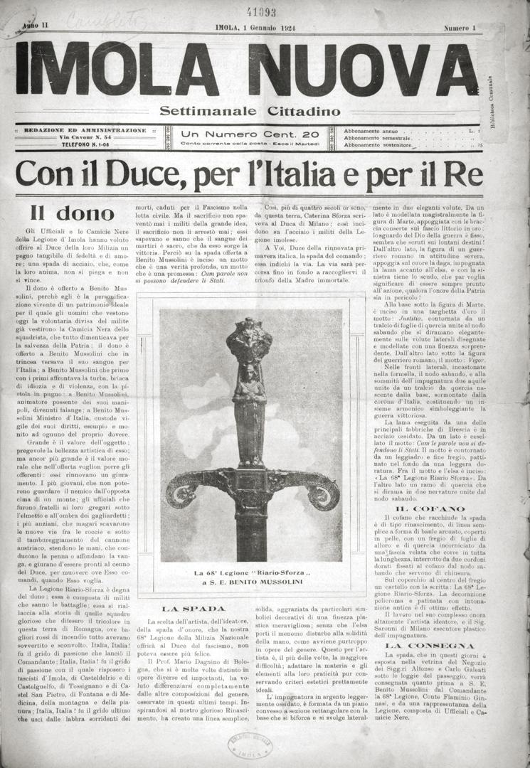 2. Imola Nuova 1 gennaio 1924 n. 1 (Bim)