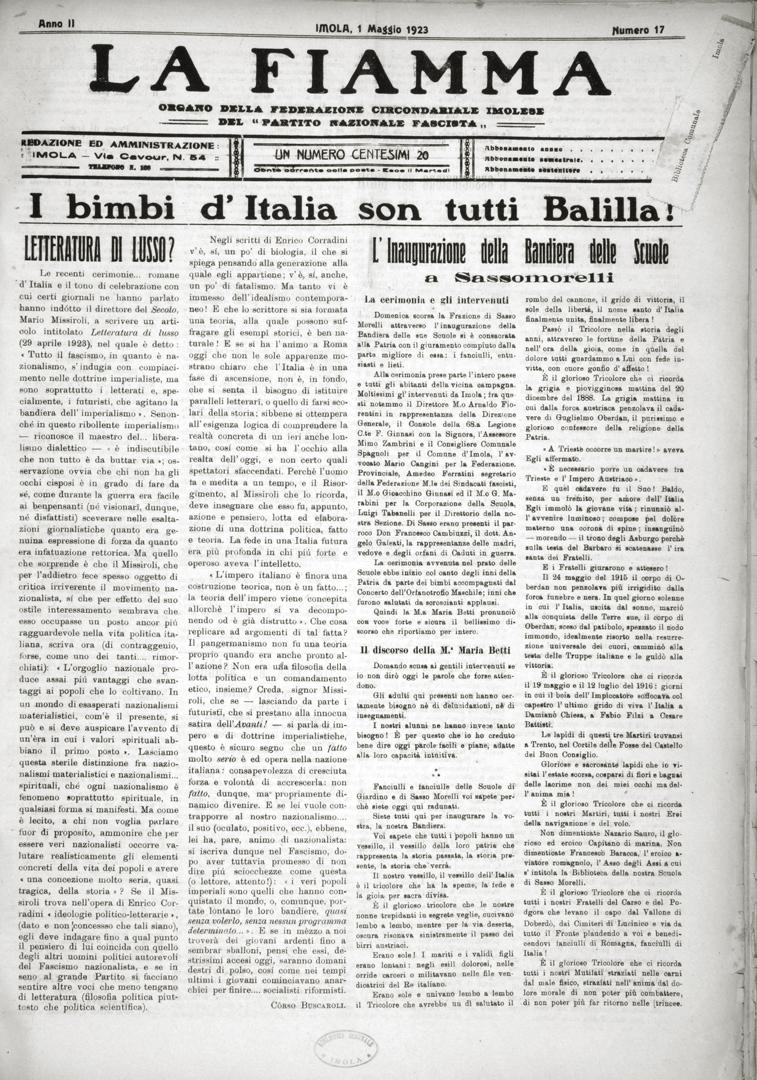 1. La Fiamma 1 maggio 1923 n. 17 (Bim)