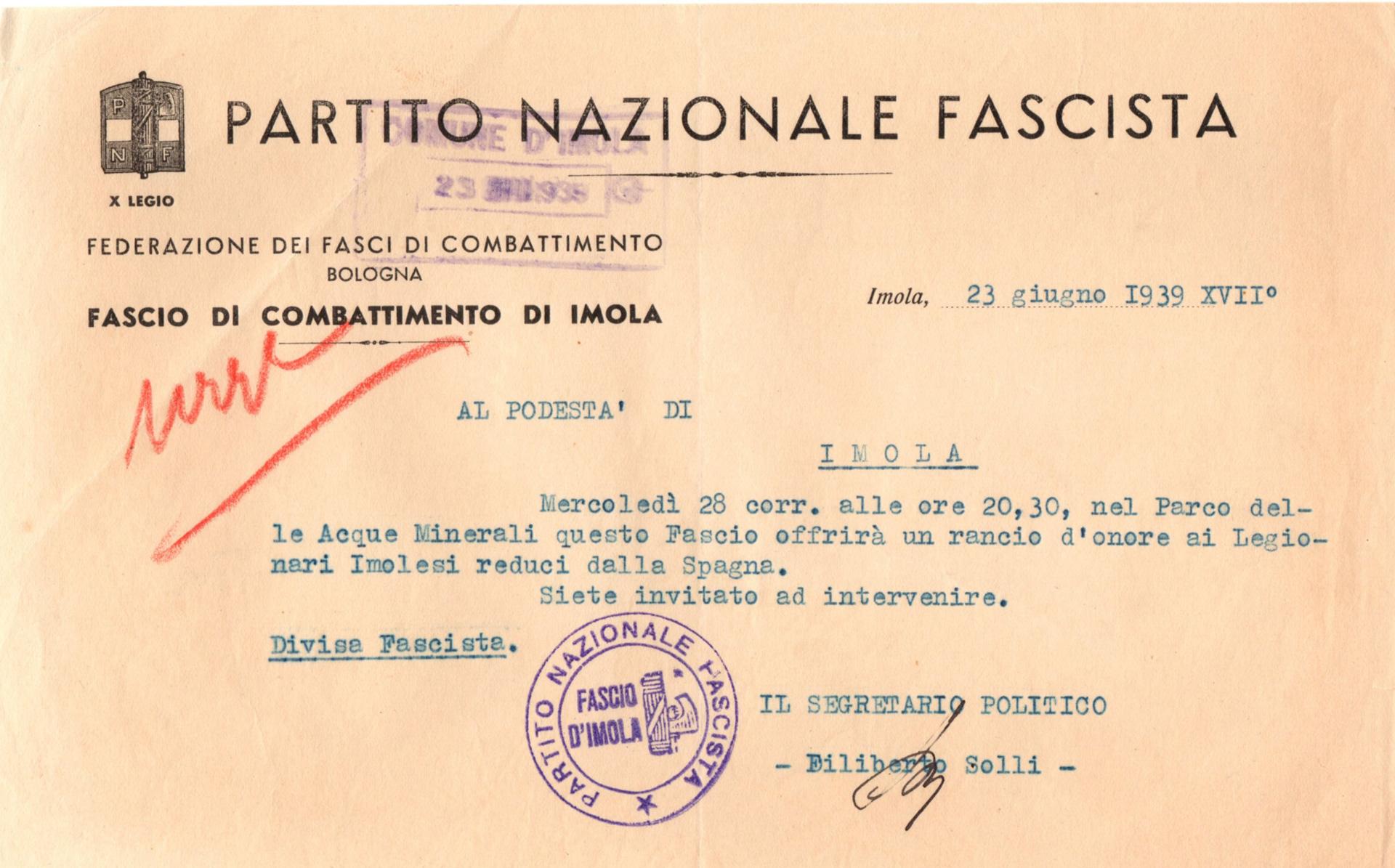 2. Imola, 23 giugno 1939, invito al rancio d'onore ai Legionari imolesi reduci dalla Spagna (Archivio Cidra, Fondo Ezio Serantoni)
