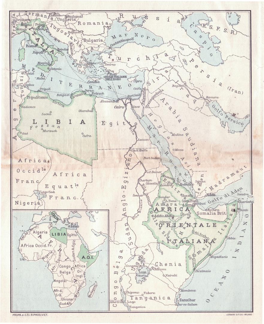 1. Carta dell'impero coloniale italiano tratta dalla Guida dell'Africa Orientale Italiana, Consociazione Turistica Italiana, Milano 1938 (Archivio Cidra)