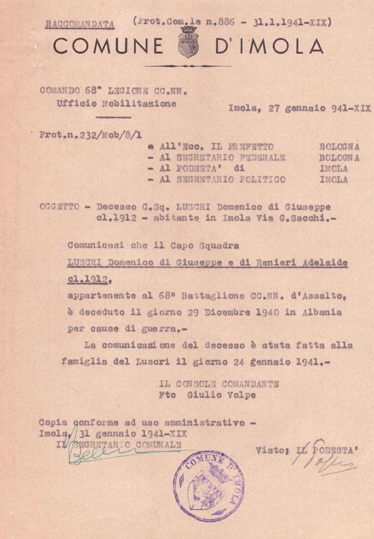 2. Imola, 27 gennaio 1941, telegramma con la comunicazione della morte del soldato Domenico Luscri (Archivio Cidra, Fondo Ezio Serantoni)