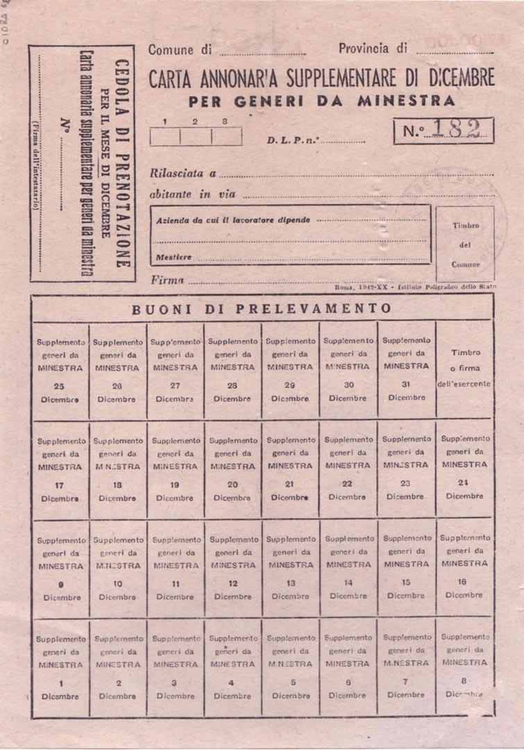 4. Tessera annonaria (Archivio Cidra)