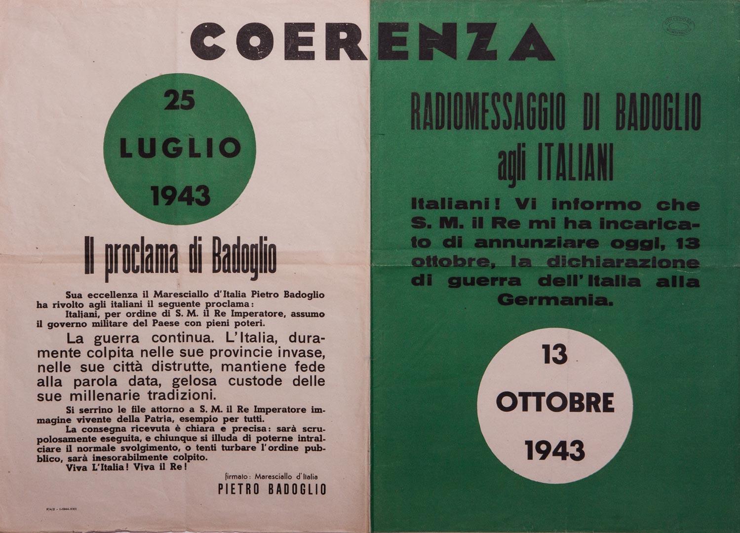 1. Manifesto con la dichiarazione di guerra alla Germania del 13 ottobre 1943 (Archivio Cidra, Fondo Montevecchi)