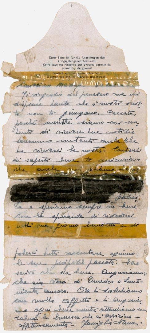 2. Lettera inviata dalla famiglia Nanni all'internato militare Marino Scardovi detenuto nello Stalag IV G a Oschatz in Germania (Archivio Cidra, Fondo Marino Scardovi)