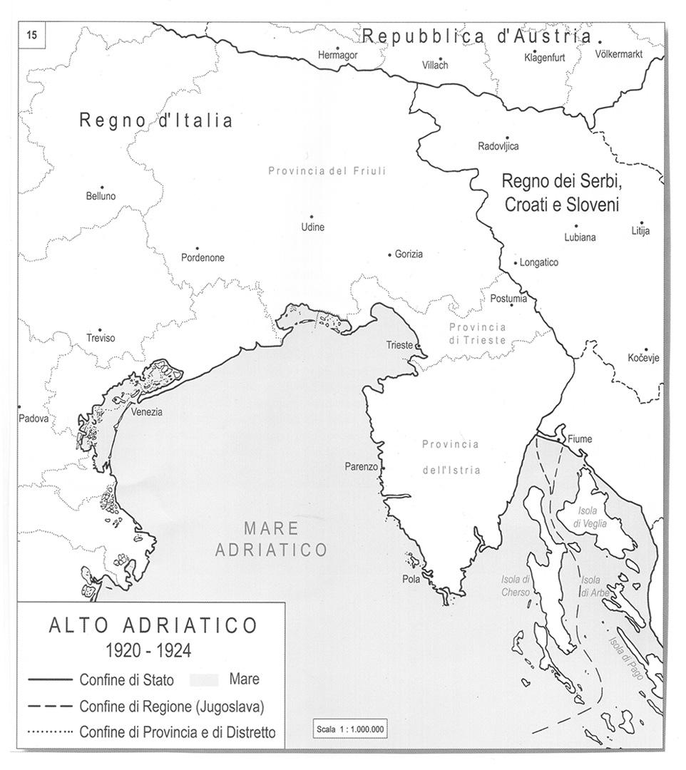 1. Alto Adriatico 1920-1924 in Franco Cecotti, Il tempo dei confini. Atlante storico dell'Adriatico nord-orientale nel contesto europeo e mediterraneo 1748-2008, Irsml, Trieste 2010